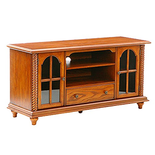 "Southern Enterprises 50"" Television Stand - Windowpane Cabinets w/Antique Oak Finish,"