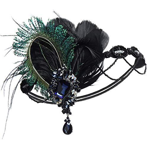 Coucoland 1920s Stirnband Pfau Feder mit Strass Damen 20er Jahre Stil Flapper Charleston Haarband Great Gatsby Damen Fasching Kostüm Accessoires (Schwarz)