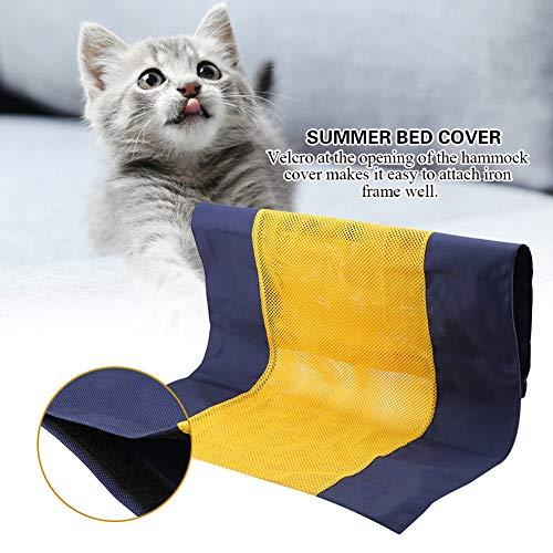 Hangmathoes voor huisdieren, ademende dekbedovertrekken op een zitstok ijzeren frame bed voor Cat Puppy Kitty (geel)