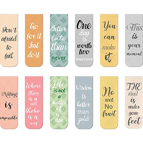 48 Pieces Magnetic Bookmarks with Inspirational Quotes Motivational Magnet Book Marker Magnetic Page Clip Bookmarks for Student Office Reading Stationery
