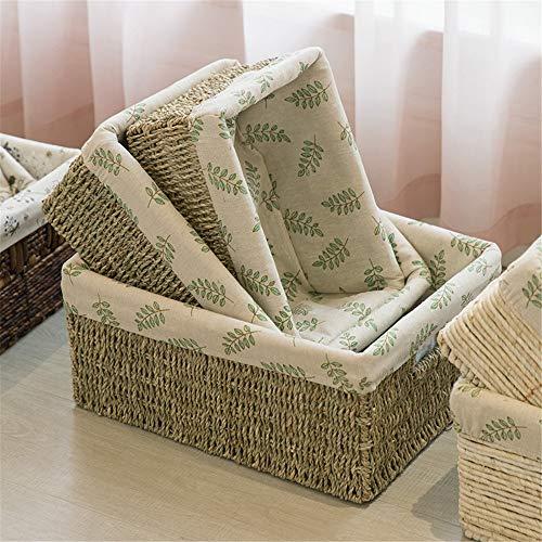 JWIL Storage basket Set of 3 Decorative Home Storage Bins Handmade Wicker Storage Baskets,Decorative Baskets Organizing Baskets for Living room,Bathroom for Home Office Closet Toys Clothes