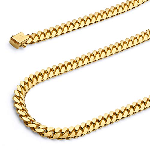 Wellingsale 14k Yellow Gold Solid 5.5mm Miami Cuban Concaved Curb Chain Bracelet - 8.5'