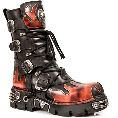 New Rock Rocker Newrock 591 S1 Schwarz Mit Roter Flamme Motorradfahrer Biker-Unisex-Stiefel metallischer Reaktor Goth Emo Punk Biker Unisex Boots (10 UK / 44 EU)