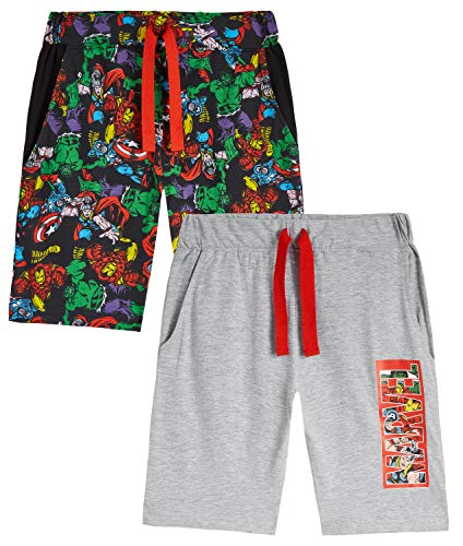 Marvel Pantalones Niños Cortos, Pack De Bermudas Verano con Los Vengadores Iron Man Capitán América Thor y Hulk, Regalos para Niños 3-14 años (Gris/Multi, 7-8 años)