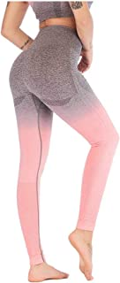 Pantaloni Da Yoga Da Donna,Moda Sin Costuras Apretados Pantalones De Yoga Estiramiento Delgado Medio Y Alta Cintura Transpirable Damas Rosa Pantalones Deportivos Verano Viajes Al Aire Libre Salva