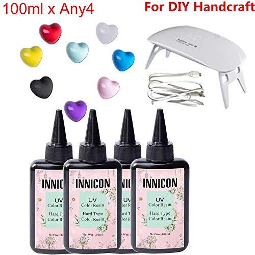 Geassorteerde kleur epoxy UV-hars gellijm set voor DIY siliconen mal hangers oorbellen armbanden maken, geen pigmenten nodig, 400 ml niet-giftig, kies elke 4 kleuren, met uithardingslamp
