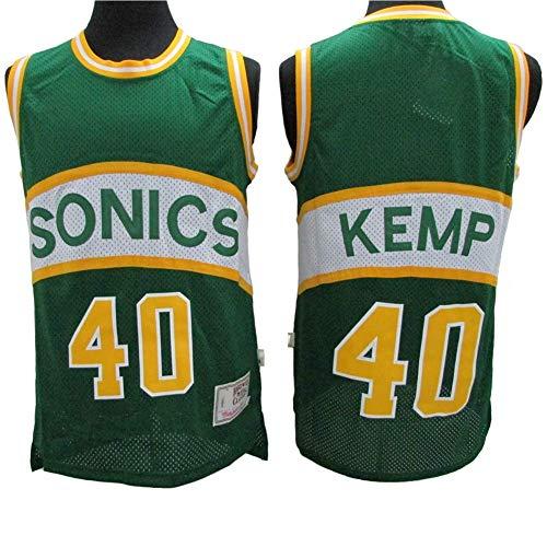 LSJ-ZZ Männer NBA Jersey -Shawn Kemp # 40 Seattle Supersonics Basketball Ärmel Top, Classic Retro-Spitze T-Shirt, Mesh-Breathable Sportwear,XL:185cm/85~95kg