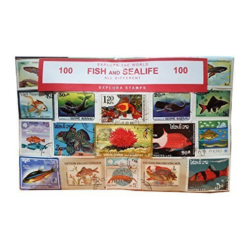worldwide Fish, Sea Life e animali marini francobolli Collection–100different. Souvenir/Speicher/Memoria. Collezione francobolli provenienti da tutto il mondo. timbre/Stempel/francobollo/sello.