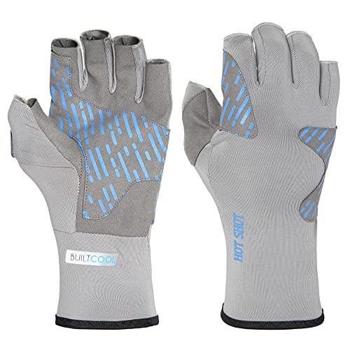 Hot Shot Men's Fingerless Reinforced Fishing Gloves with UV Protection –...