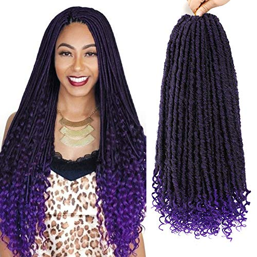 6Pack Goddess Locs Crochet Hair Purple Ombre Straight Faux Locs with Curly Ends Pre Looped Crochet Twist Soft Synthetic Ombre Braiding Hair Extensions (Tpurple#,480g/Lot)
