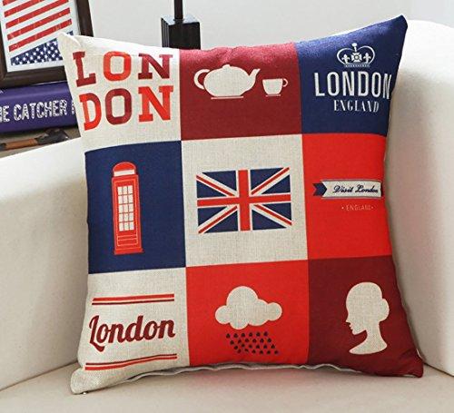 Funda de cojín cuadrada con estampado de Londres, para sofá, duradera, funda de cojín decorativa