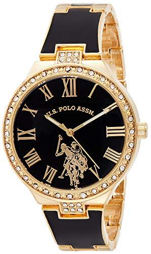 U.S. Polo Assn. Reloj analógico de cuarzo para mujer con correa de aleación, dorado