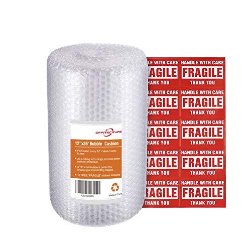 Offitecture Luftpolsterfolie, 5 mm Luftblase, 30 cm x 11 m insgesamt, alle 30 cm perforiert, 10 Aufkleber für zerbrechliche Gegenstände enthalten