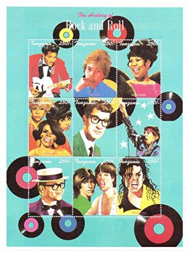 Die Geschichte des Rock and Roll große Briefmarkenbogen - Chuck Berry, Bob Dylan, Aretha Franklin, Buddy Holly, Bruce Springsteen, The Rolling Stones und mehr - 9 Superb Zustand Briefmarken für Sammler - MNH / Tansania / 250F