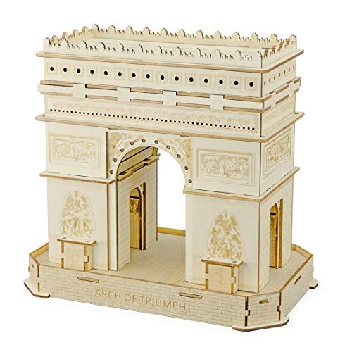 Foxom 3D Puzzle Holzpuzzle - DIY Paris Arc de Triomphe Hölzernes Puzzle Montage Konstruktor Kit - Kreatives Geschenk für Kinder (95Pcs)