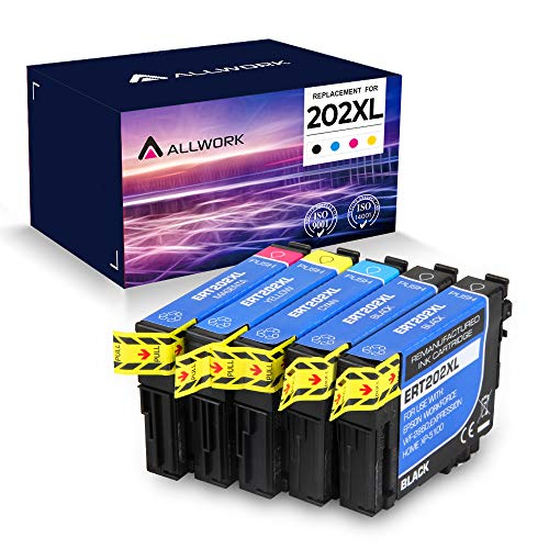 Allwork Remanufactured Ink Cartridge Replacement for Epson 202XL 202 T202XL T202 Works with Expression Home XP-5100; Workforce WF-2860 All-in-One Printer, 5 Pack (KKCMY)