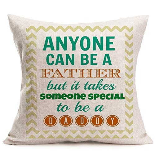 shenhaimojing Throw Pillow Covers Father's Day Gifts Funny Quote Pillowcases Cotton Linen 18 x 18 inches/45 x 45cm with Hidden Zipper Home Sofa Cushion Decorative Pillow Covers (Anyone)