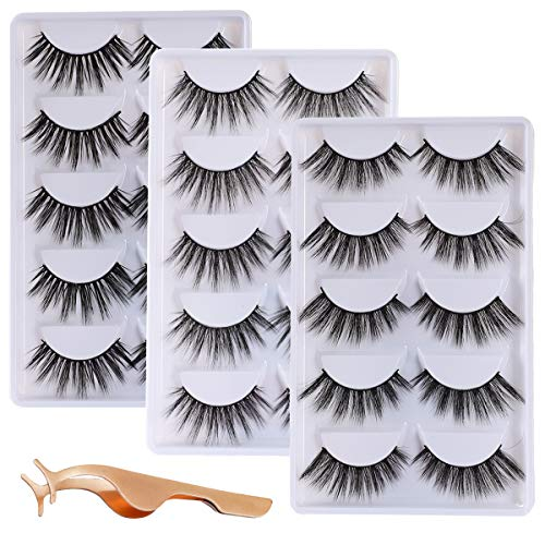 ALICROWN 3D Eyelashes Pack False Eyelashes Mink Fur Hand-Made Dramatic Thick Crisscross Deluxe Nature Fluffy Long Soft Reusable