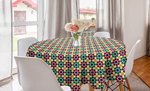 ABAKUHAUS Vistoso Mantel Redondo, Estrella marroquí Zellige, con Estampa Digital Lavable No Destiñe Durable y Resistente, 150 cm, Multicolor