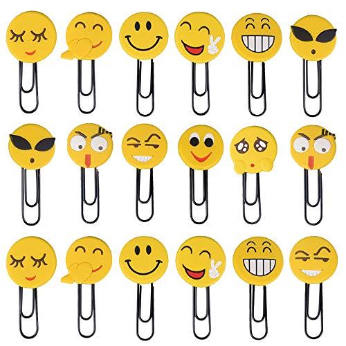 20pz Segnalibro Bambini Emoji Segnalibri Graffetta Divertenti Carini Pensierini Regalini Gadget per Compleanno Natale Scuola Bambini