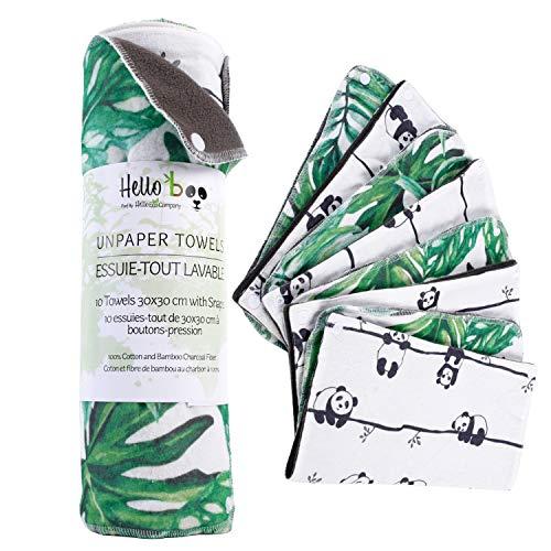 10 essuie-tout en tissus avec boutons-pression   Super produit de nettoyage   Réutilisables et lavables   100% en coton de bambou   Nettoyage écologique   30cm x 30cm   2 superbes designs