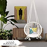 Patiofy Make in India Swing with Free Accessories/ Hammock-Hanging Cotton Chair for Comfort Indoor & Outdoor/Swing for Kids, Adults (Large Size, 120 Kg Capacity, White)