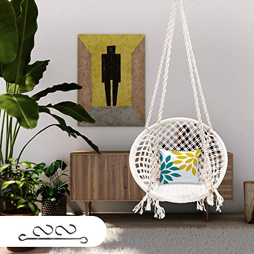 Patiofy Made in India Large Size Swing Chair|with Free Complete Hanging Kit Hammock-Hanging Chair Handmade 100% Cotton for Comfort Indoor and Outdoor(Swing with Accessories)