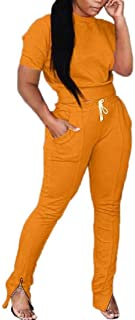 UUYUK Women Short Sleeve T-Shirt 2 Piece Outfits Tracksuit Tops with Pants Set