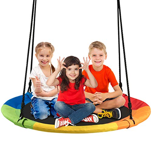 """Costzon 40"""" Waterproof Saucer Tree Swing Set, Indoor Outdoor Round Swing Colorful Rainbow- Adjustable Hanging Ropes, Safe and Sturdy Swing for Children Tree Park Backyard (Multicolor)"""