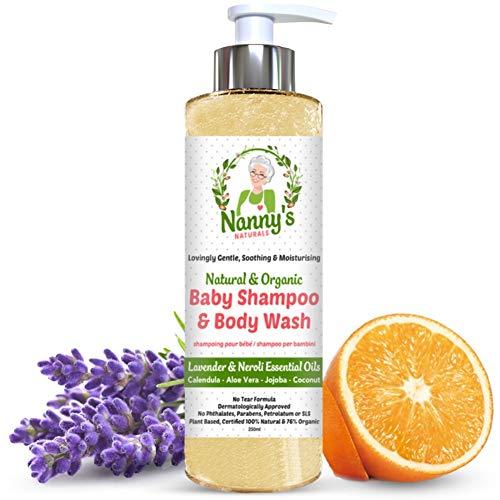 Champú y gel para el cuerpo para bebés completamente natural y orgánico | Lavanda y flor de azahar | Jabón 100% natural y 76% orgánico para bebés y niños