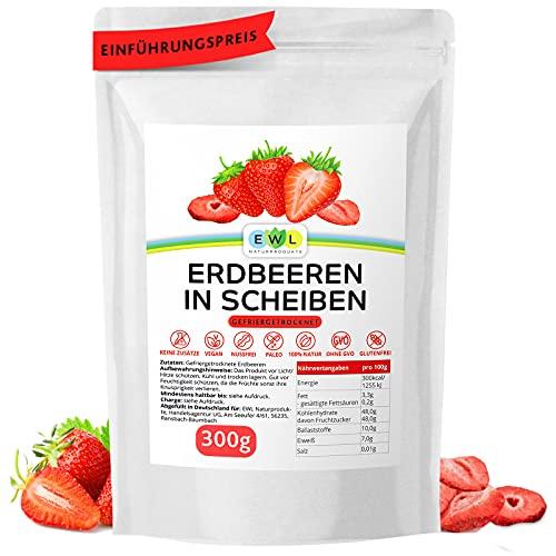 EWL Naturprodukte Erdbeeren gefriergetrocknet XXL Pack 300g, gefriergetrocknete Erdbeeren in Scheiben, getrocknete Erdbeeren frei von Zusatzstoffen, getrocknete Früchte abgefüllt in Deutschland