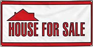 Vinyl Banner Sign House for Sale Business Huge Estate Marketing Advertising Red - 24inx48in (Multiple Sizes Available), 4 Grommets, One Banner
