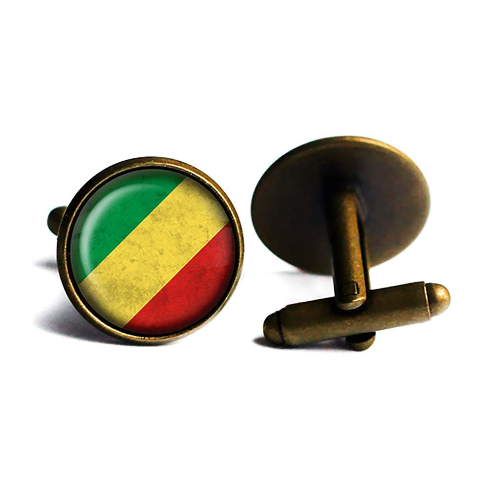 Cheap African Ranking TOP6 Nation Congo Flag Cufflinks Bronze Antique