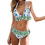 IEUUMLER Costume da Bagno Donna Sexy Bikini Set Due Pezzi Mare Spiaggia Push up Swimsuit Halter Brasiliano IE071 (Blue, XL)