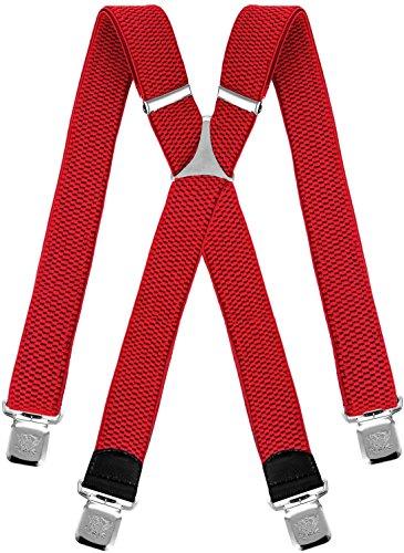 Decalen Hosenträger für Herren breit extra starken 4 cm mit 4er Clips X Form lange für Männer und Damen Hose (Rot)