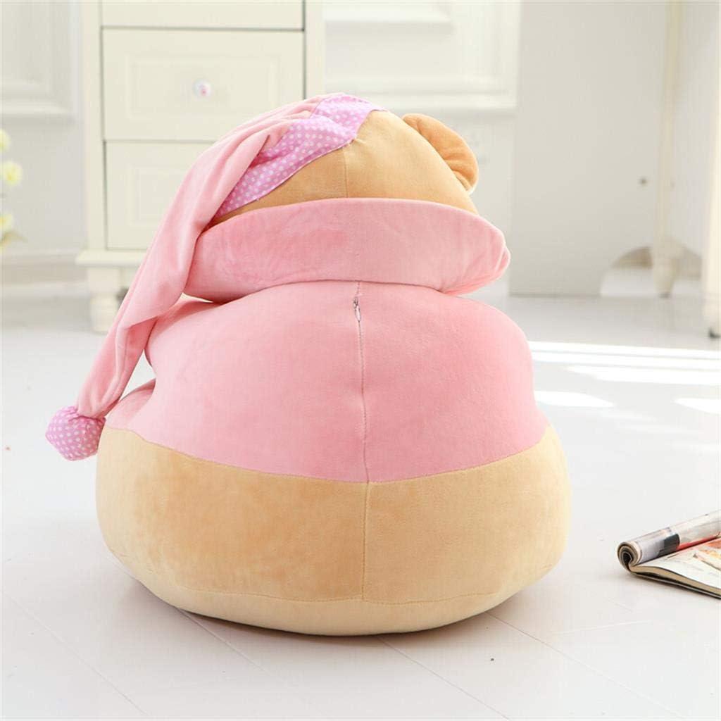 JiuErDP Chapeau mignon jouet Cartoon ours poupée enfant siège de sofa paresseux cadeau enfants lavables d'anniversaire (Color : Blue) Pink