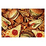 Wooden Puzzle 1000 Pieces Fast Food Items Like hot Dogs Hamburgers Fries and Pizza Junk Food Jigsaw Puzzles for Children or Adults Educational Toys Decompression Game