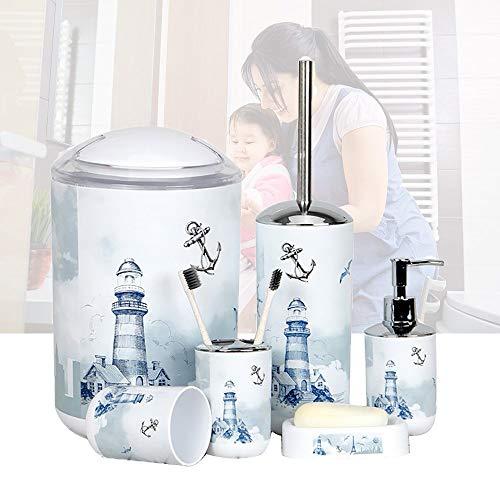 LOHOX 6-teiliges Badezimmer-Set Leuchtturm Badezimmerzubehör-Set aus Kunststoff mit Lotionsflaschen,Zahnbürstenhalter, Zahnbecher, Seifenschale, Toilettenbürste, Mülleimer