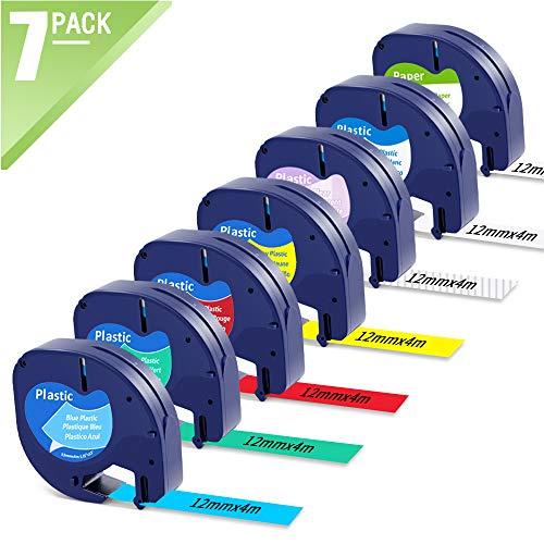 MarkFieldKompatible Schriftband als Ersatz für Dymo Letratag Etikettenband 12mm x 4m Kunststoff/Papier Etiketten für Dymo Letratag LT-100H LT-100T XR, Schwarz auf Weiß/Rot/Gelb/Blau/Grün/Klar 7-Pack