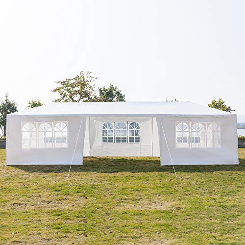 Luckymday 10x30 Feet Pop Up Canopy Tent Heavy Duty Wedding Party Event Tent White Instant Tent 7 Removable Sides Waterproof Outdoor Gazebo Tent with Spiral Tubes