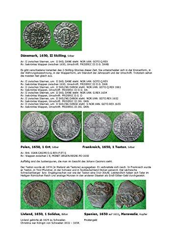 Kalenderblatt zum Jahr 1650: Was sind Justierspuren? (Münzen des Jahres 1650 aus Dänemark, Spanien, Frankreich, Polen und Livland)