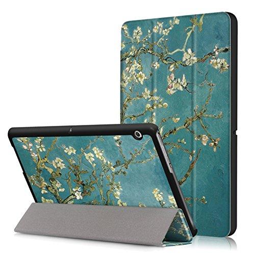 Xuanbeier Huawei MediaPad T3 10 Hülle Hülle-Ultra Dünn & Leicht PU Leder Schutzhülle Cover für Huawei MediaPad T3 10(9,6 Zoll) (Z-Apricot Flower)