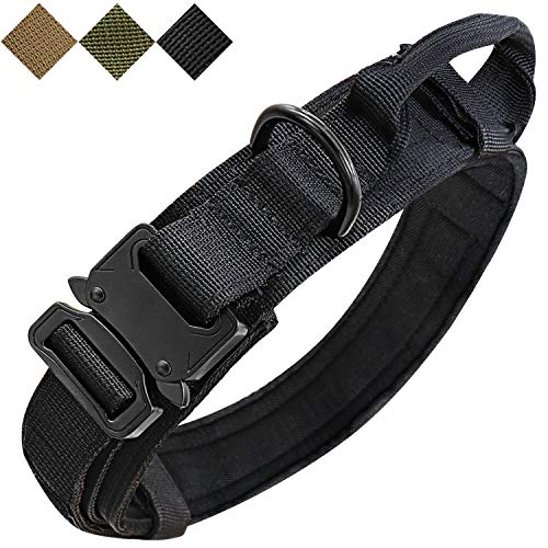 Tactical Dog Collar Adjustable Military Collar Outdoor Training K9 Dog Collar Heavy Duty Metal Buckle with Control Handle