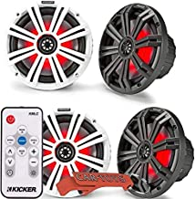 $429 » Kicker 45KM84L 8-Inch Marine Coaxial Boat Speakers 4-Pack with 41KMLC LED Remote Controller Bundle. Black and White Grille...