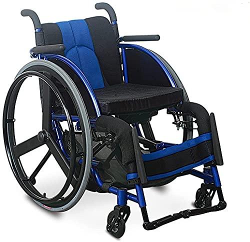 tjz Silla De Ruedas De Transporte Plegable Silla De Ruedas para Personas Mayores Deporte Manual para Adultos Silla De Ruedas De Aluminio Plegable Ligera Autopropulsada (TamañO: Azul)