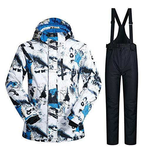 MEOBHI Skipak voor heren, winter en nieuw, outdoor, winddicht, waterdicht, thermisch sneeuwjack en broek, voor ski- en snowboardpakken van merken.