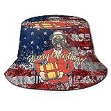Pug Gift Christmas Cute Art Unisex Impresión Sombrero de Cubo Patrón Sombreros de Pescador Gorra Plegable Reversible de Verano