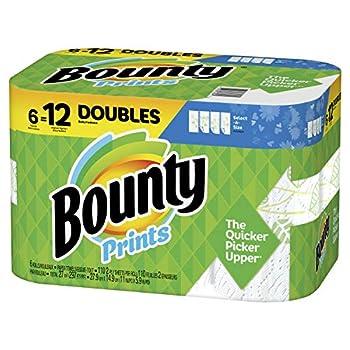 Bounty Select-A-Size Paper Towels Print 6 Double Rolls = 12 Regular Rolls
