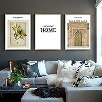 Decoración nórdica flor pared arte lienzo pintura planta verde hoja cartel impresión hogar pared imagen para decoración de sala de estar 50x70cmx3 sin marco