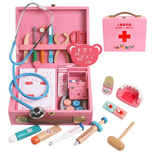 Oeasy 34 Stück Arztkoffer Kinder Holz, Holz Doktorkoffer Arztkoffer Doktorspiele Arztspiele Rollenspiel Spielzeug für Kinder ab 3 Jahre